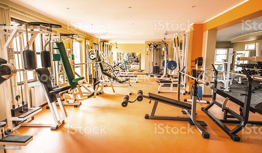 Gym and fitness room. stock photo
