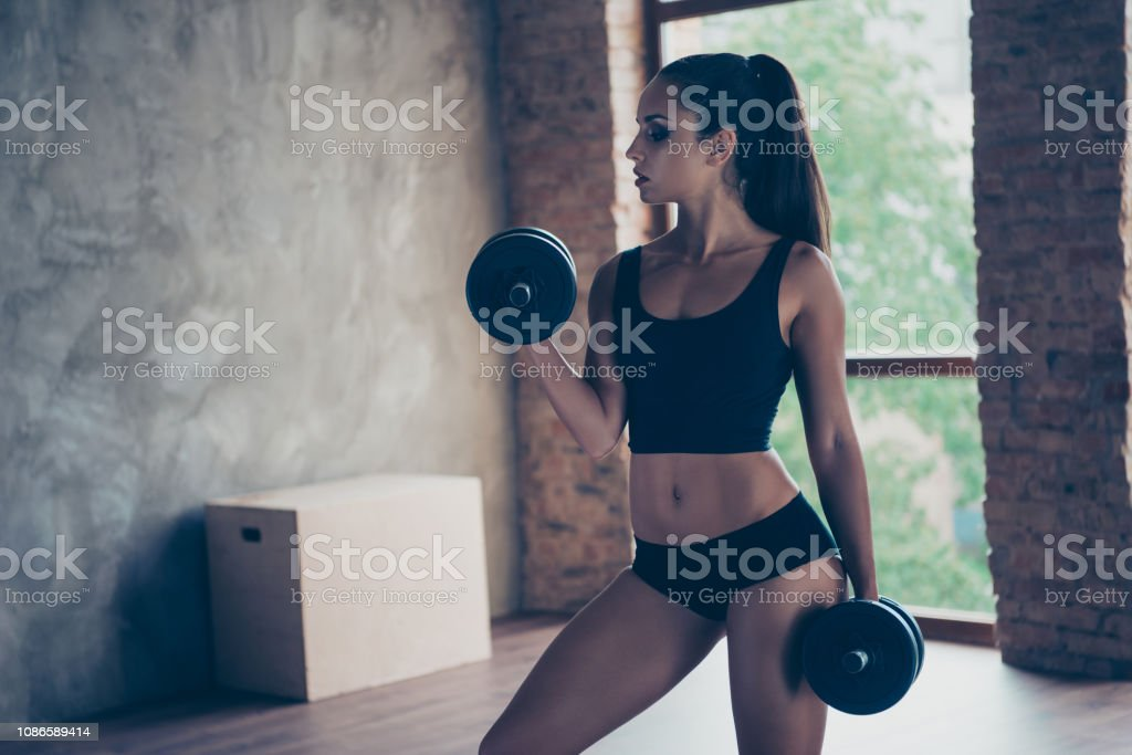 Girls in panties lifting weights Gym Attractive Pretty Fitness Model With Brunette Ponytail Stock Photo Download Image Now Istock