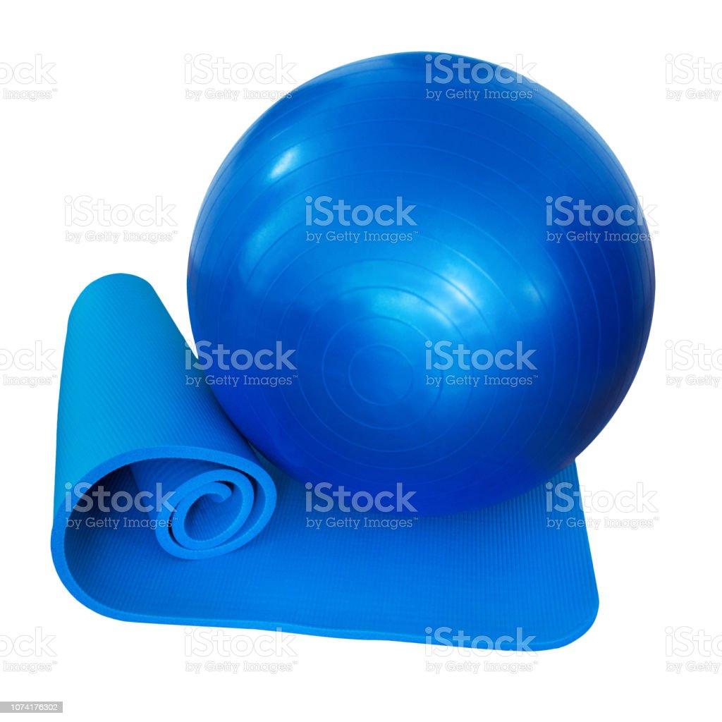 Gym ball and mat stock photo