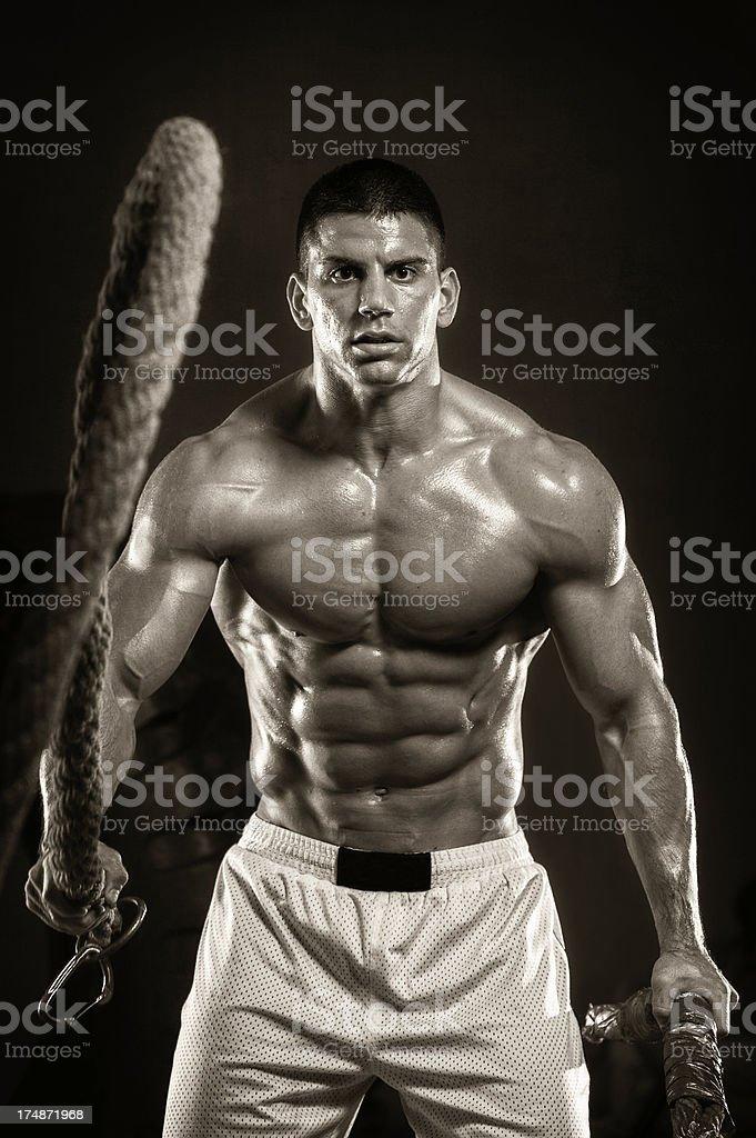 gym battling rope Training royalty-free stock photo