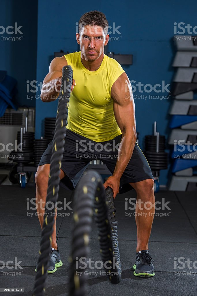 gym Battling Rope Workout stock photo