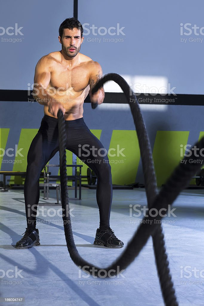 gym battling ropes at gym workout exercise stock photo