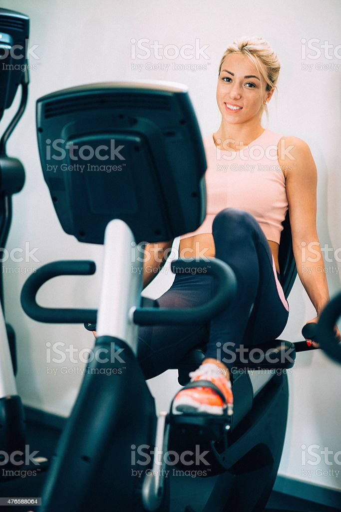 Gym Bicycle Workout stock photo