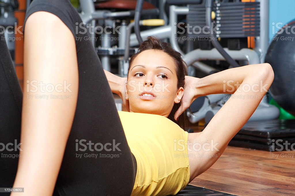 Gym crunches royalty-free stock photo