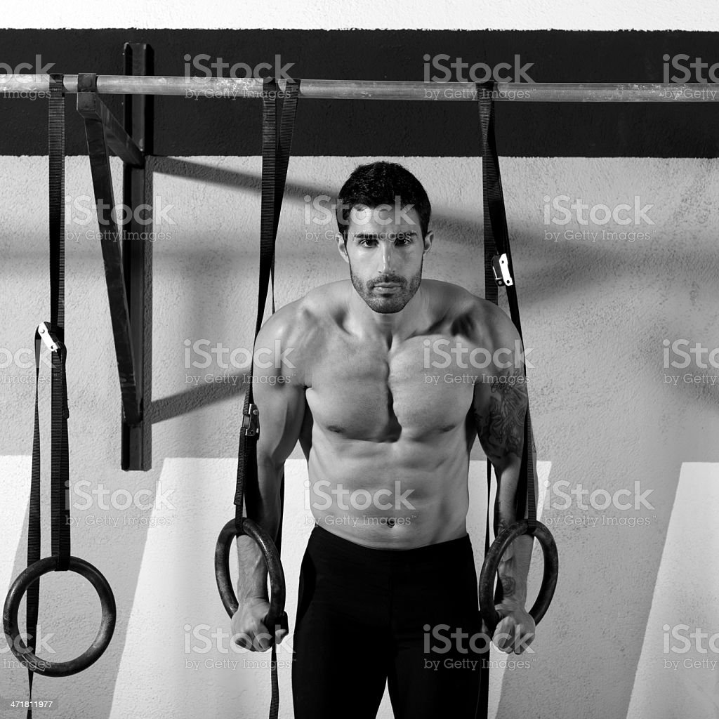 gym dip ring man workout at gym royalty-free stock photo