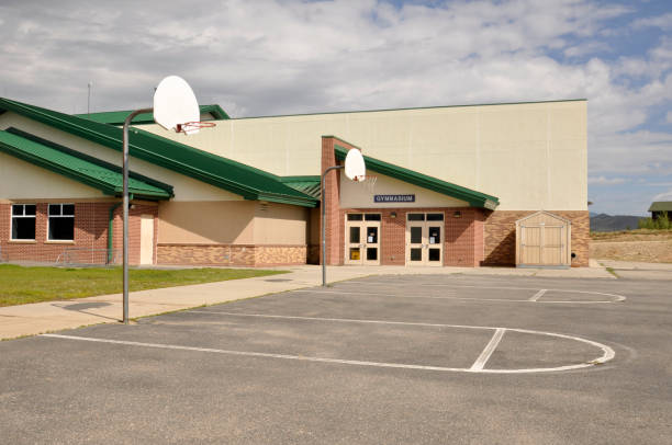 gym entrance for a modern school building stock photo