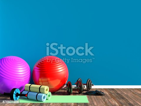 istock Gym equipment for fitness exercise in room 876601656