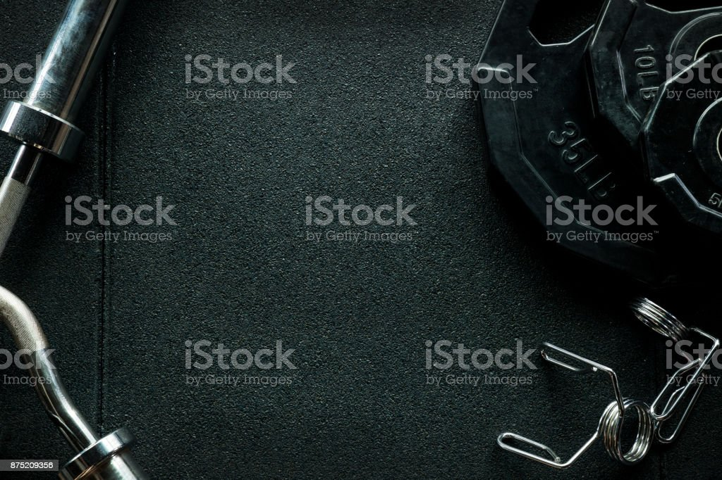 Gym equipment for weight training background. stock photo