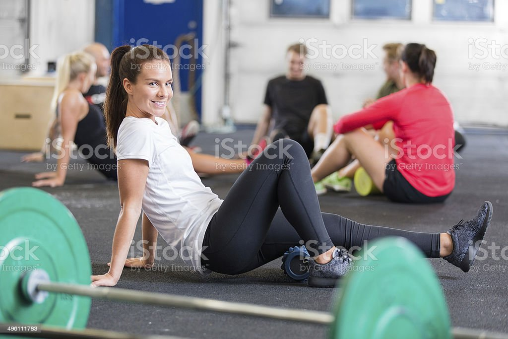 gym exercise for flexibility and mobility stock photo
