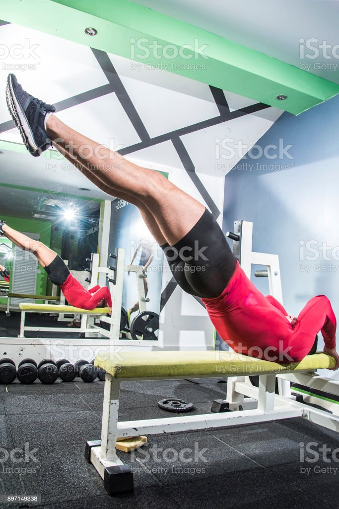 Gym exercise, handsome man stock photo