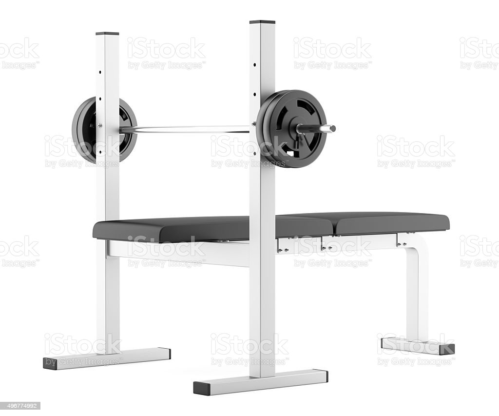 gym flat weight bench with barbell isolated on white background stock photo