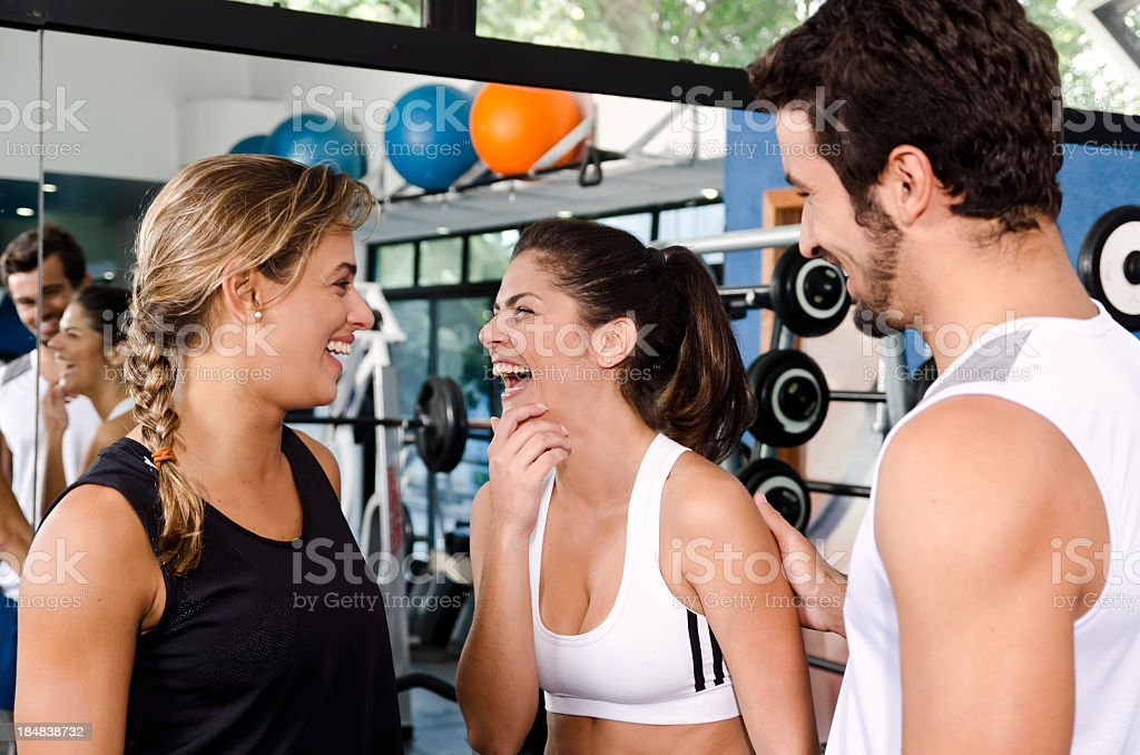 Gym friends having fun royalty-free stock photo