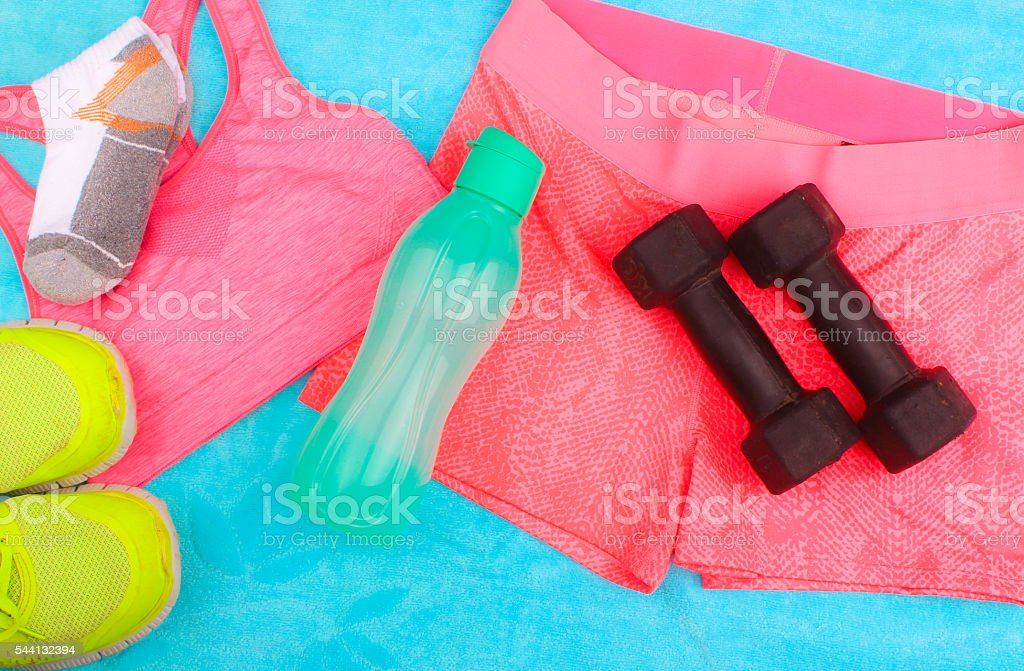 Gym Gear, gym clothes and sports wear kit stock photo