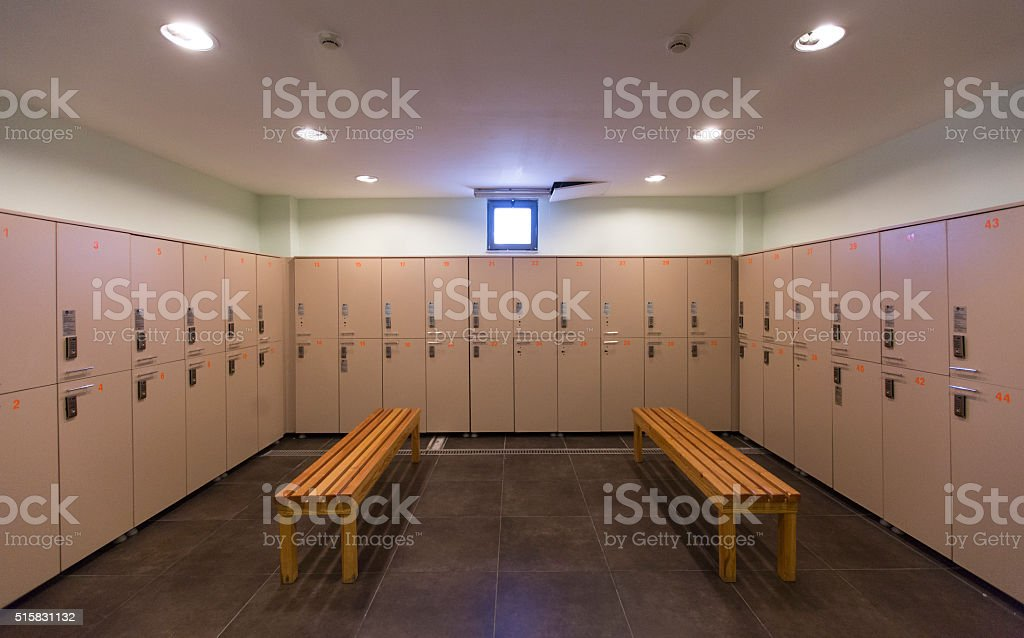 gym locker room stock photo
