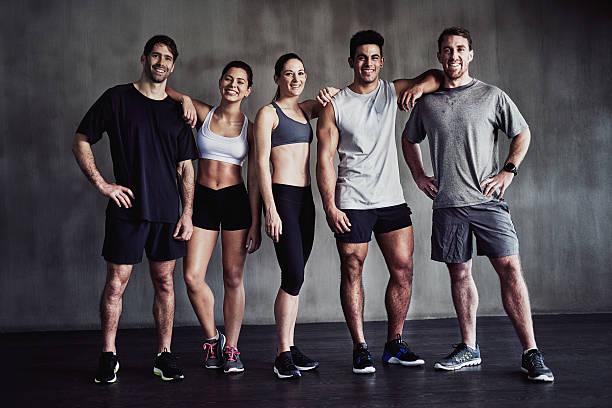 Gym lovers unite stock photo