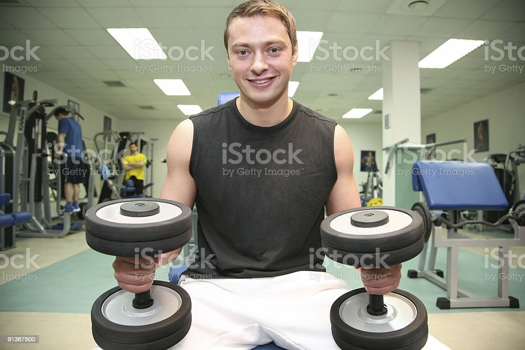 gym man with dumbbell 4 royalty-free stock photo