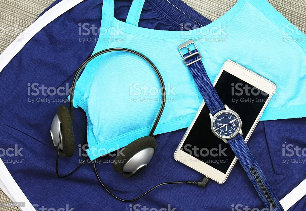 Gym outfit - workout clothing, sports bra stock photo