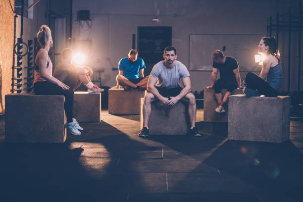 Gym people relaxing stock photo