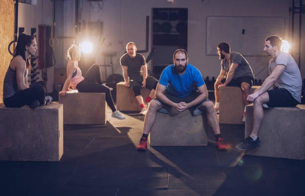 Gym people taking a break stock photo