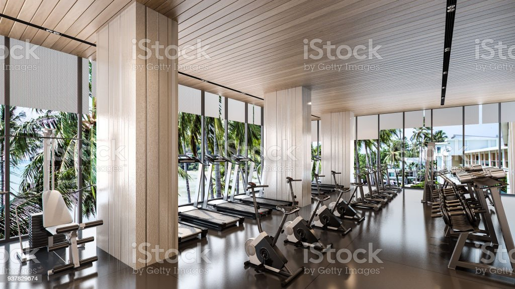 Gym Room At Resort 3d Rendering Stock Photo - Download Image Now