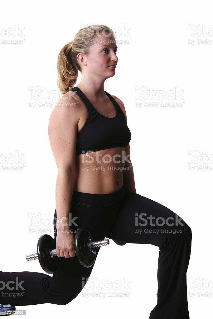 Gym series... Lunges royalty-free stock photo