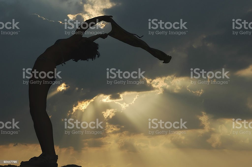 Gym sunset silhouette royalty-free stock photo
