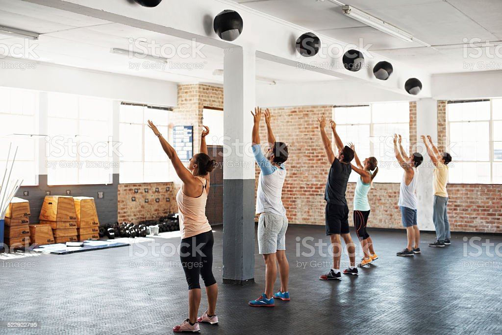 gym takes a lot of balls stock photo