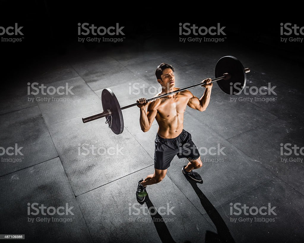 gym Training with a Barbell stock photo