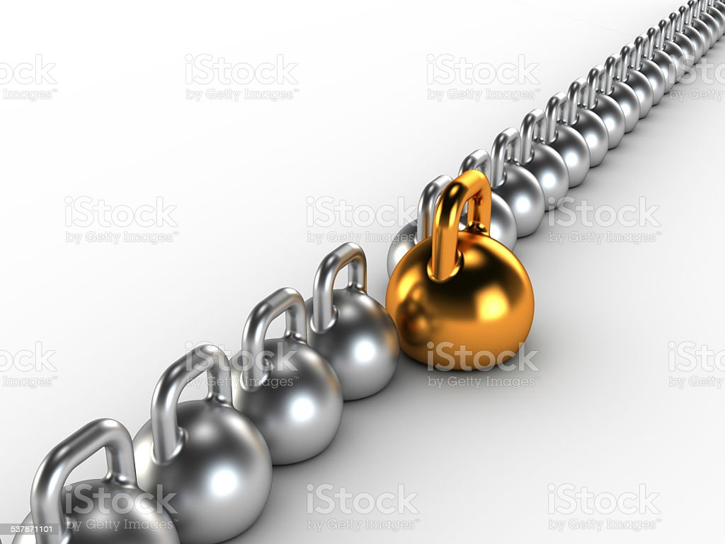 Gym weight kettle bells in a row stock photo