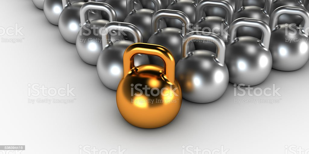 Gym weight kettle bells stock photo