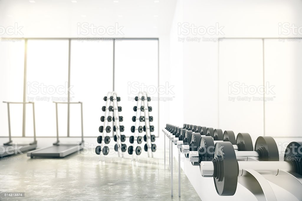 Gym with weights lie in the range, treadmill stock photo