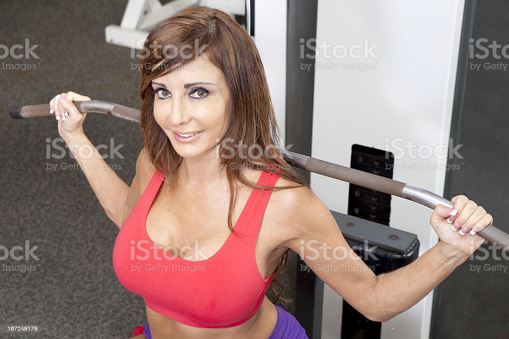 Gym Workout - lateral pulldown royalty-free stock photo