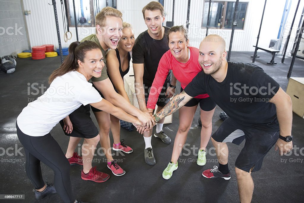 gym workout team motivation stock photo