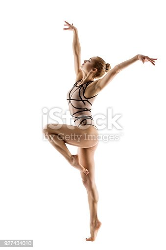 Gymnast Dancer, Woman Gymnastics Dancing Sport Dance, Young Girl in Leotard Isolated on White Background
