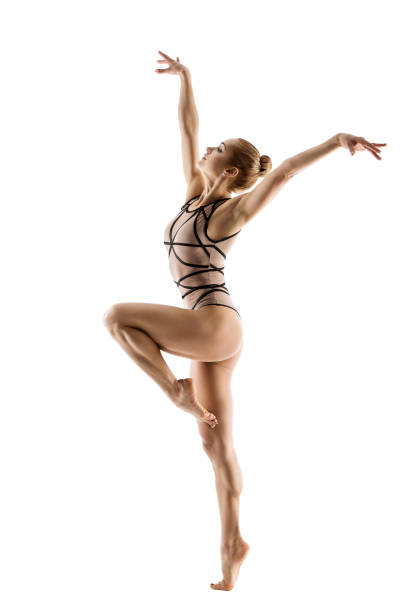 gymnast dancer, woman gymnastics dancing sport dance, young girl in leotard - leotard stock pictures, royalty-free photos & images