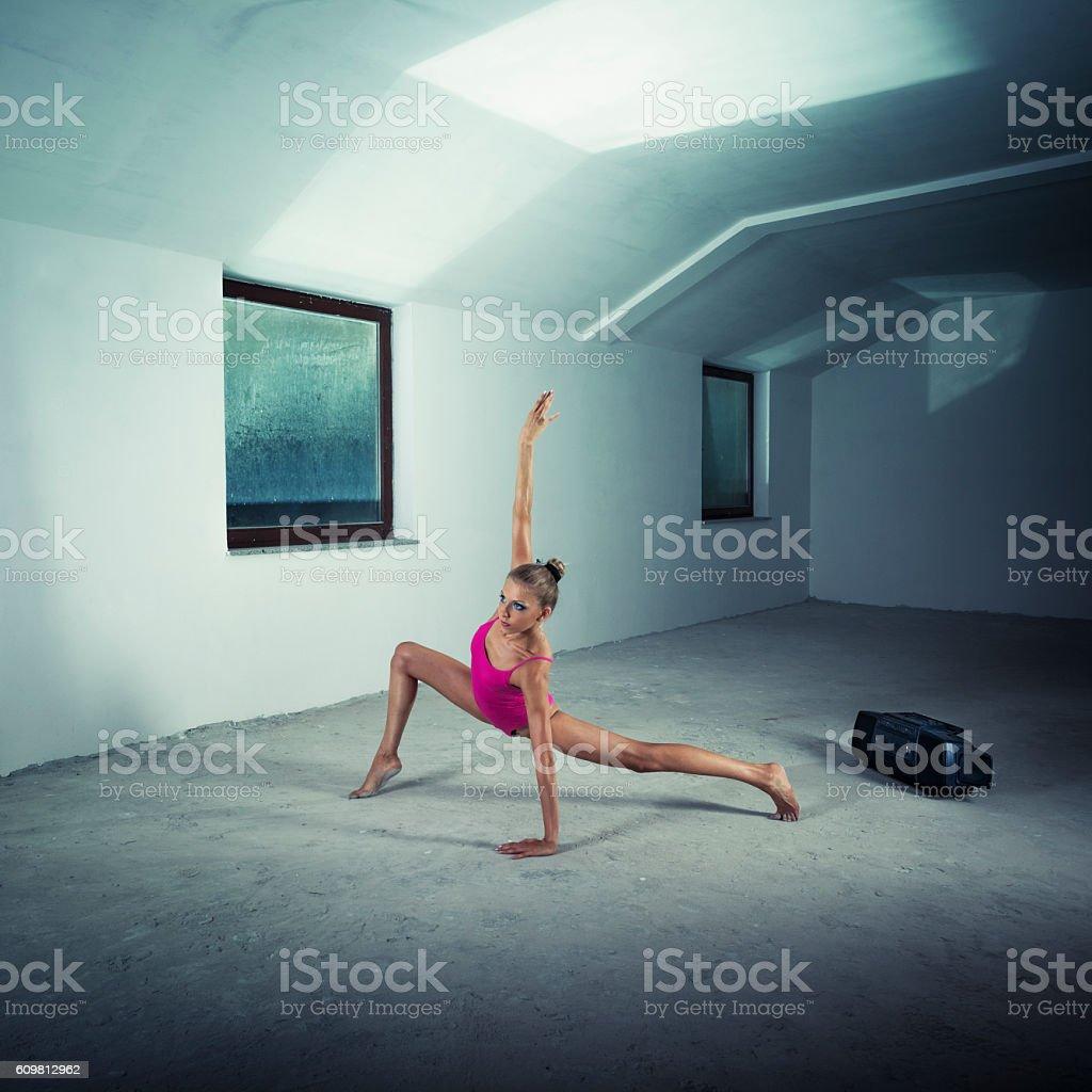Gymnast exercising stock photo