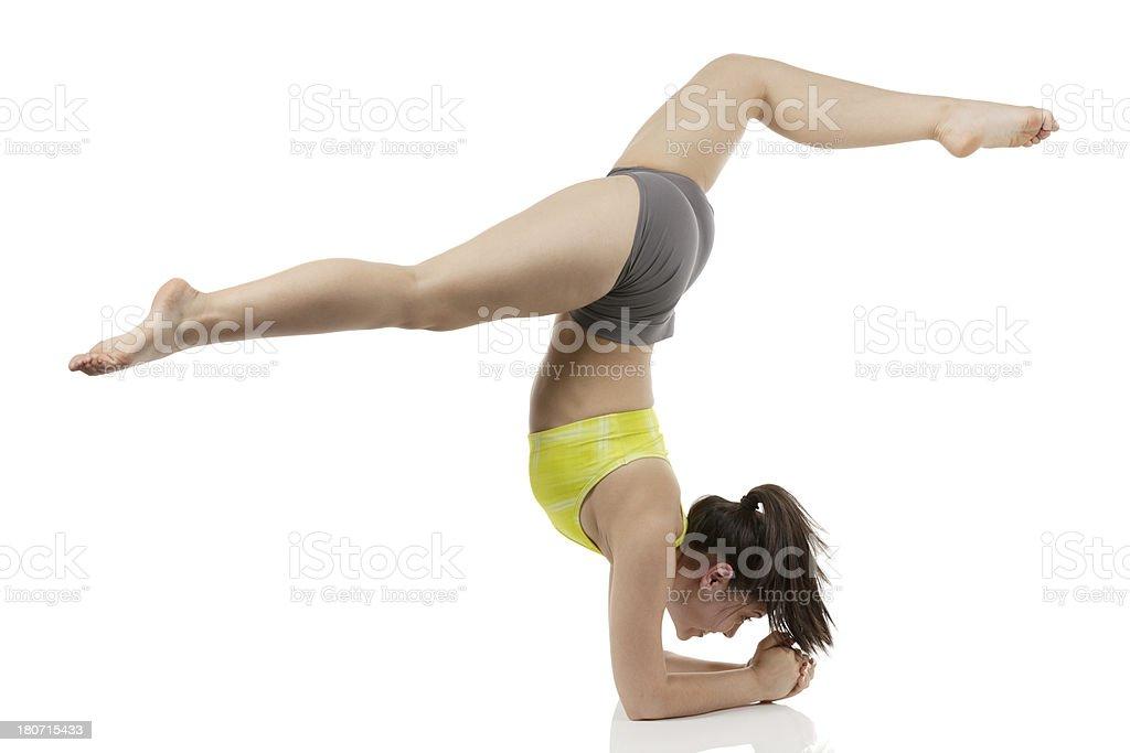 Gymnast girl doing split exercise royalty-free stock photo