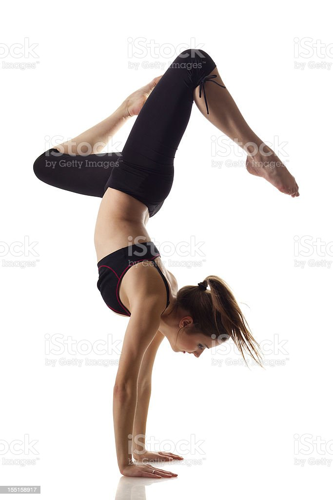 Gymnast girl isolated on white stock photo