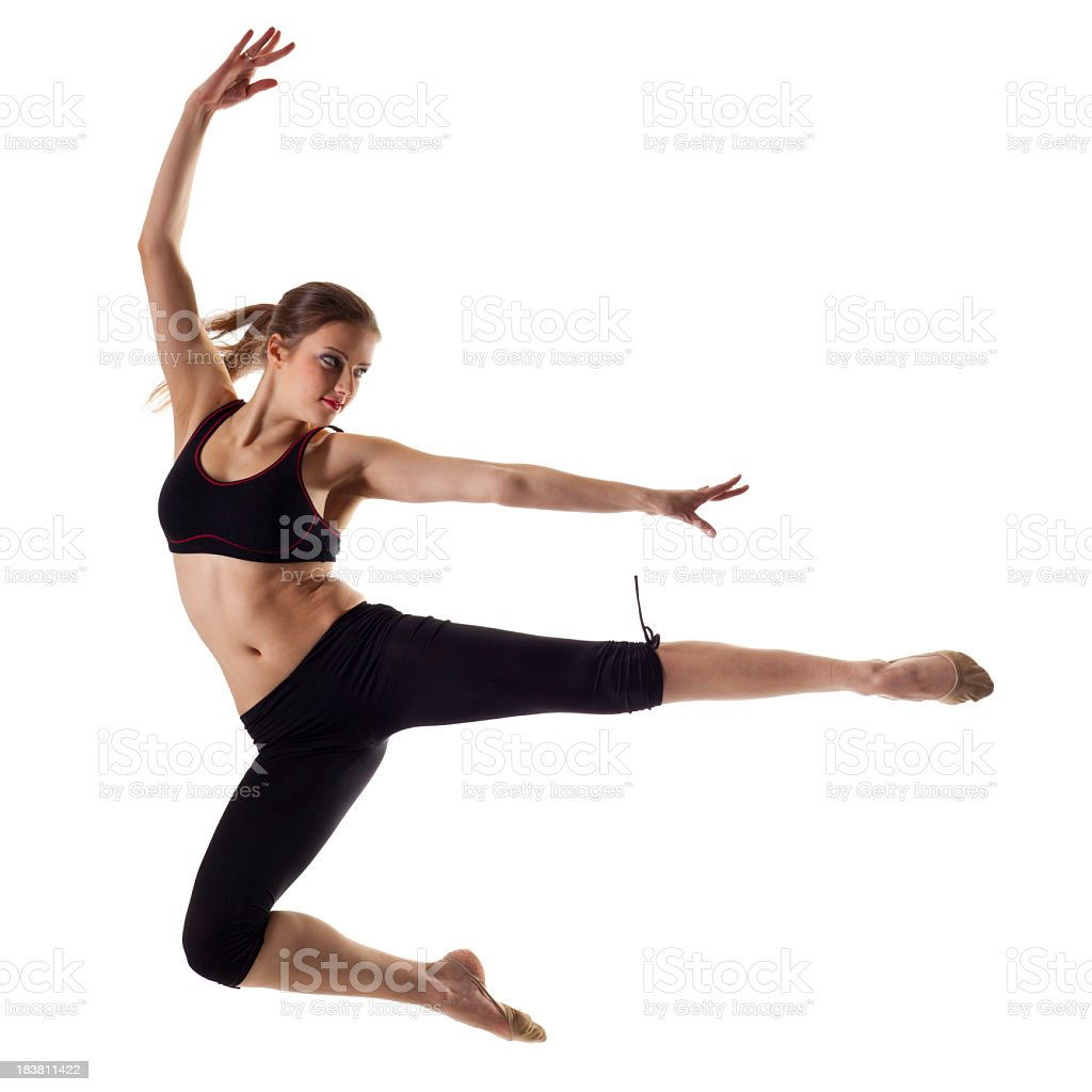 Gymnast girl isolated on white royalty-free stock photo