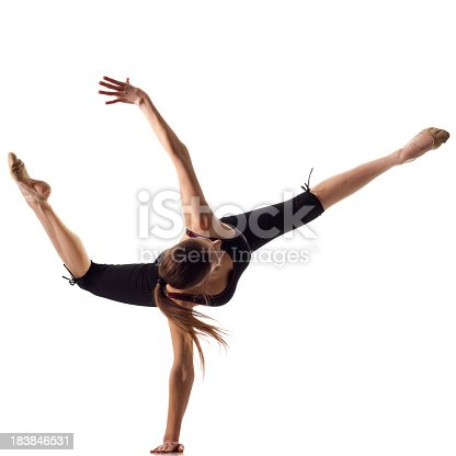 istock Gymnast girl isolated on white 183846531