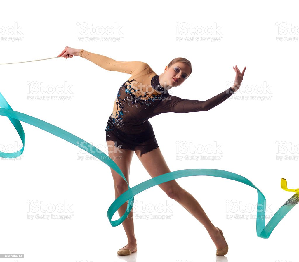 Gymnast girl on white background royalty-free stock photo