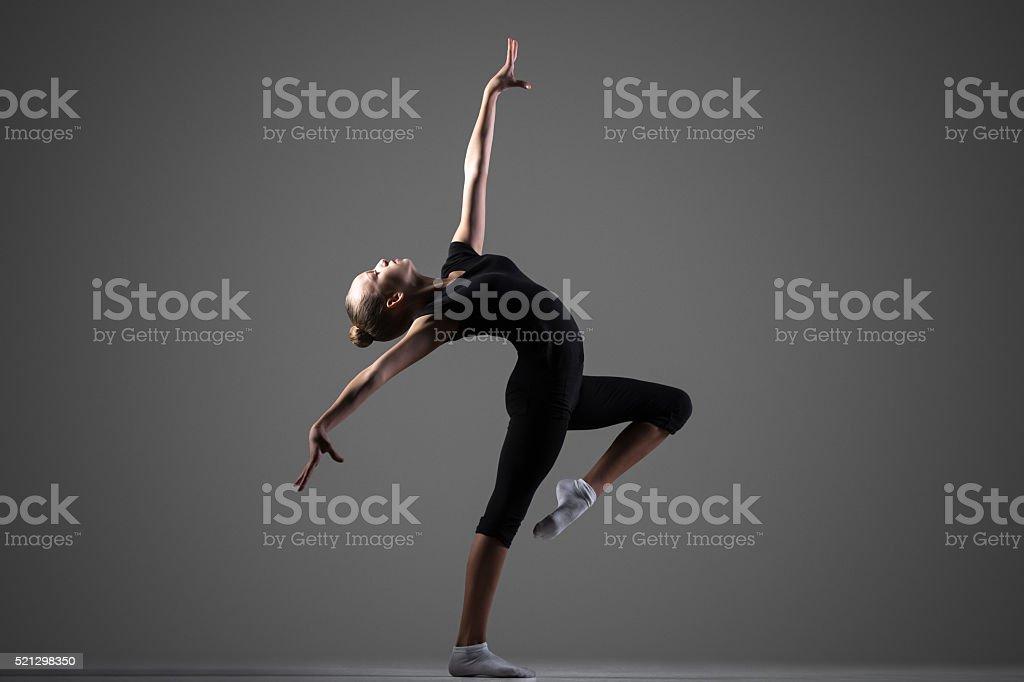 Gymnast girl performance stock photo