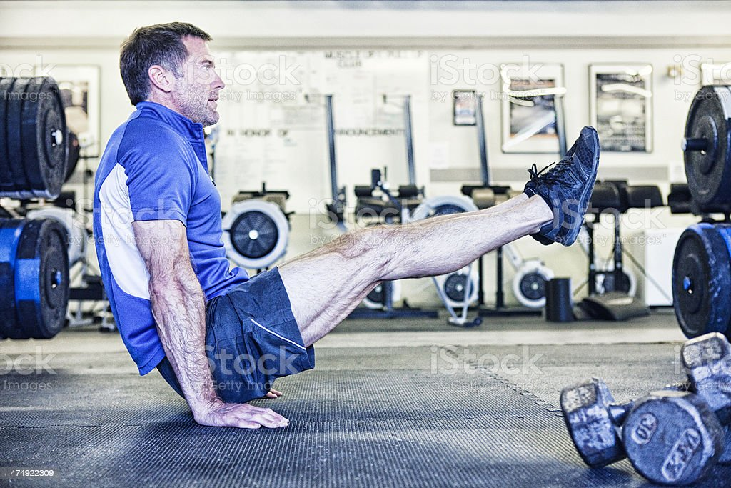 Gymnast Training in Gym royalty-free stock photo