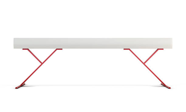 gymnastic balance beam isolated on white background. 3d renderin - balance beam stock photos and pictures