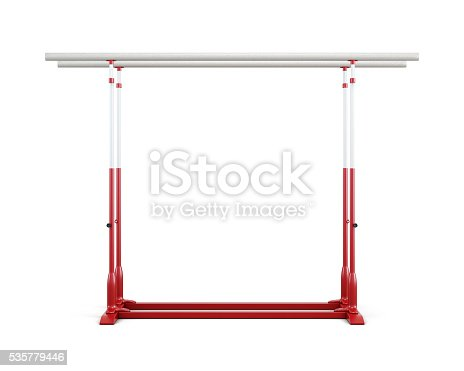 Gymnastic bars isolated on white background. Front view. 3d rendering