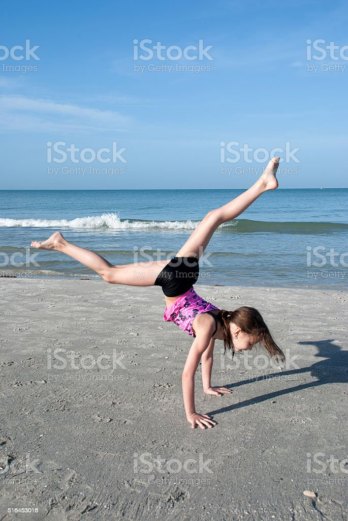 Gymnastic exercises on the outdoor stock photo