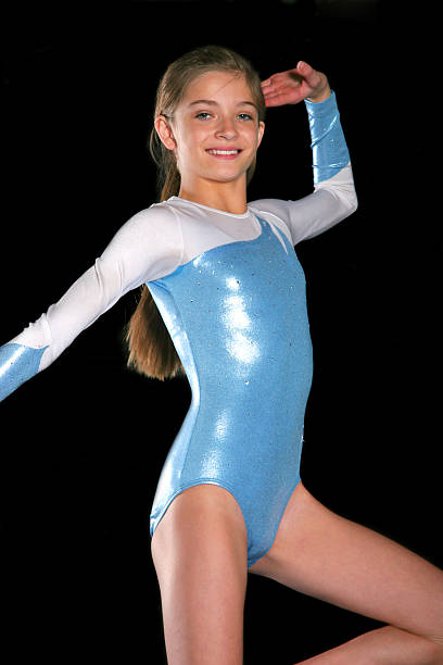 gymnastics girl pose - leotard stock pictures, royalty-free photos & images