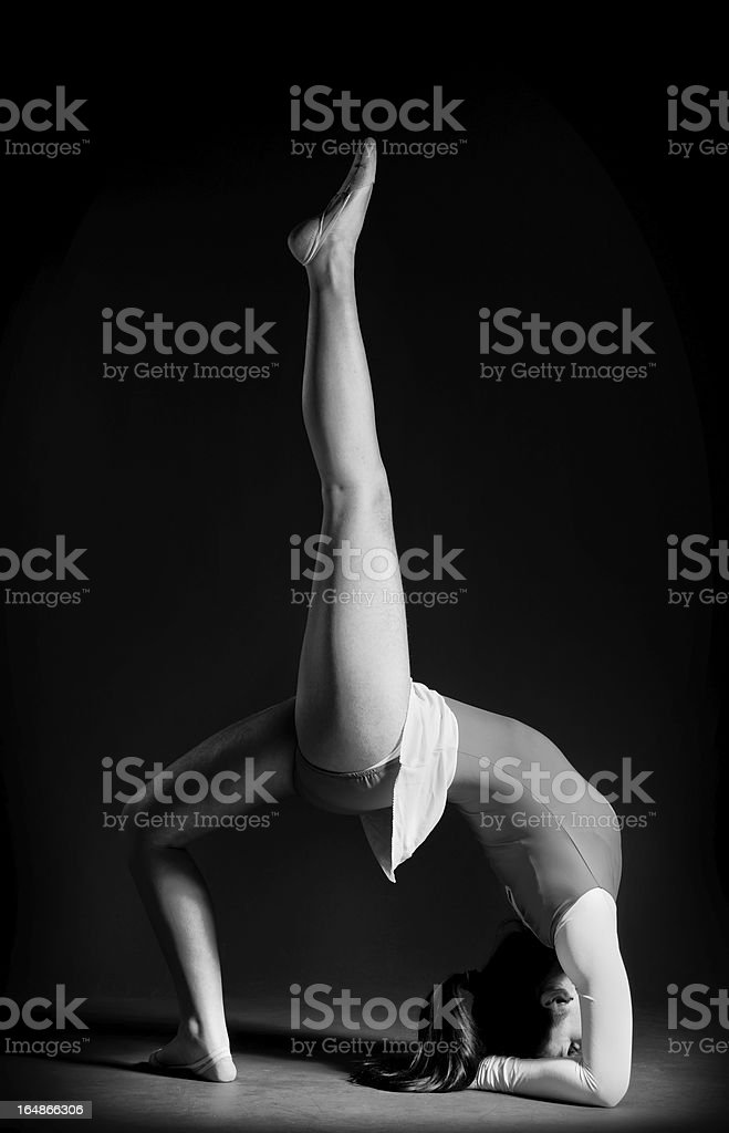 Gymnastics pose black and white royalty-free stock photo