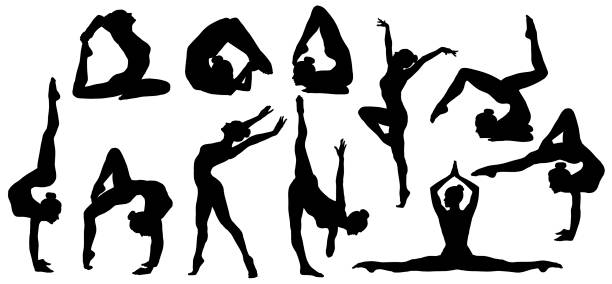 gymnastics poses silhouette, set of flexible gymnast exercise, acrobat back bend, hand stand pose, people shapes - clip art stock photos and pictures