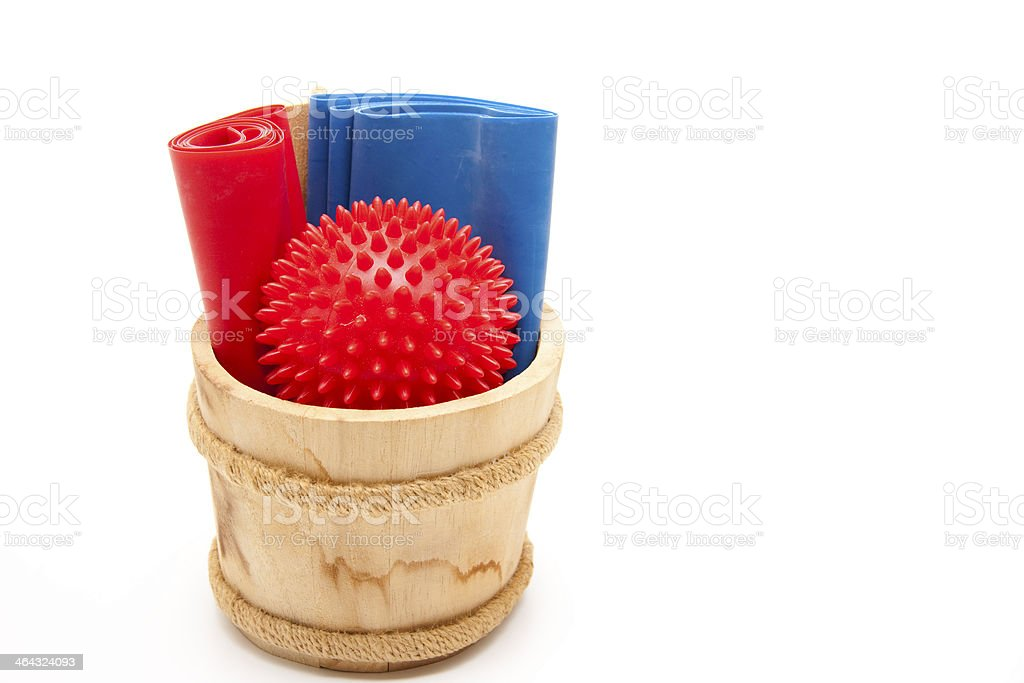 Gymnastics tape and sting ball in the tub stock photo